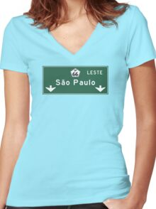 Sao Paulo, Road Sign, Brazil Women's Fitted V-Neck T-Shirt
