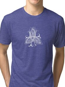 Fancy Trinity B - Knotwork - White Tri-blend T-Shirt