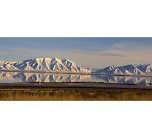 Snowy Mountains reflect in Utah Lake Photographic Print