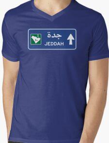 Jeddah Highway Sign, Saudi Arabia Mens V-Neck T-Shirt
