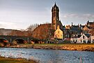 Peebles Old Parish Church by the River Tweed by Christine Smith