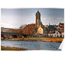 Peebles Old Parish Church by the River Tweed Poster