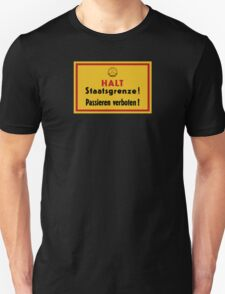 Stop, Country Border!, East Germany DDR Historic Sign T-Shirt