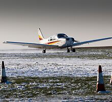 PA28 take-off run in snow by Tony Roddam