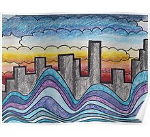 Clouds, Water, City. Poster