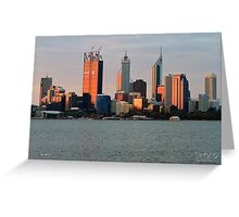 Perth, Western Australia at dusk Greeting Card
