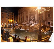 Trevi Fountain at night Poster
