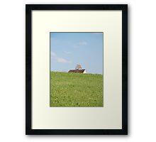 church peeking over the hill Framed Print