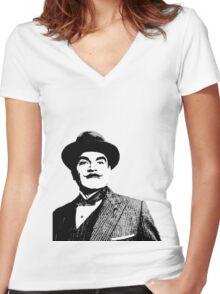 Hercule Poirot Women's Fitted V-Neck T-Shirt