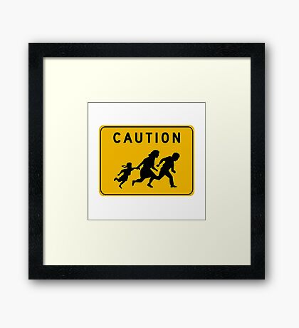 Caution at Crossing, Traffic Warning Sign, USA Framed Print