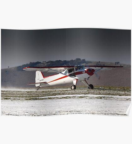 Luscombe on a snowy runway Poster