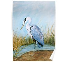 Blue Heron - Acrylic Painting on Canvas Poster