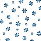 Snowflakes (Blue & Black on White) by Paul James Farr