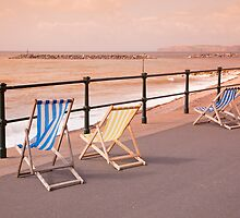 Deck Chairs on Sidmouth Esplanade by Kerry Dunstone