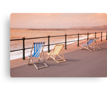 Deck Chairs on Sidmouth Esplanade Canvas Print