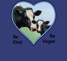 Holstein Cow and Calf Vegan Blue Heart Women's Fitted V-Neck T-Shirt