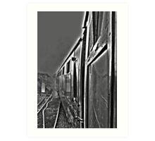 Hogwarts Carriage & Steam in Black & White Art Print