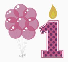 First Birthday Candle And Balloons Kids Tee
