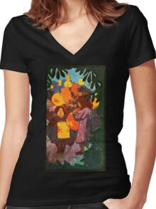 Chinese Lanterns Vintage painting Women's Fitted V-Neck T-Shirt