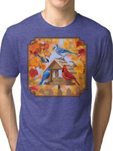 Autumn Birds and Bird Feeder Tri-blend T-Shirt
