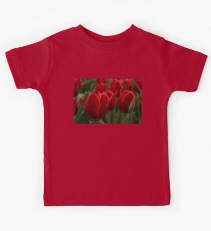 Vibrant Red Spring Tulips Kids Tee