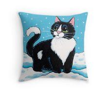 Knee Deep in the White Stuff (Tuxedo Cat in Snow) Throw Pillow