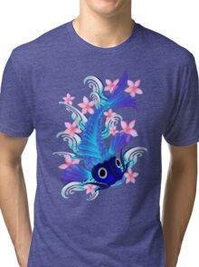Blue Koi-Pink Flowers Tri-blend T-Shirt