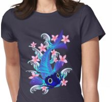 Blue Koi-Pink Flowers Womens Fitted T-Shirt