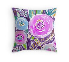 Gardens of Sausalito Watercolor Floral Throw Pillow