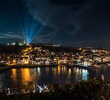Whitby at Night Panoramic by Dave Hudspeth