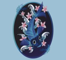 Blue Koi-Pink Flowers Oval by Lotacats