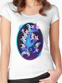 Blue Koi-Pink Flowers Oval Women's Fitted Scoop T-Shirt