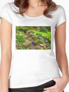The Little Creek in the Garden - Impressions Of Spring Women's Fitted Scoop T-Shirt