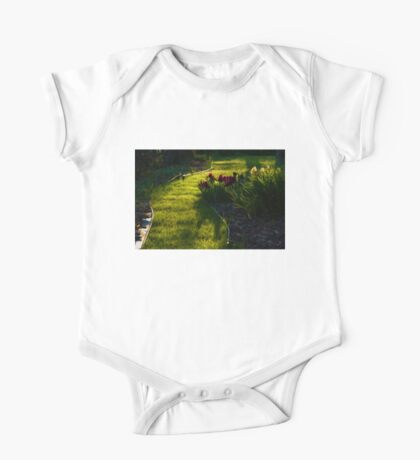 Green Garden Path - Impressions Of Spring One Piece - Short Sleeve