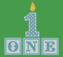 First Birthday Boy Blocks One Piece - Short Sleeve