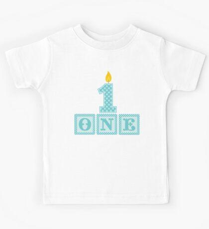 First Birthday Boy Blocks Kids Tee