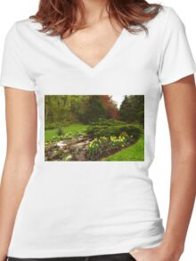 New Leaves and Flowers - Impressions Of Spring Women's Fitted V-Neck T-Shirt