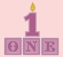 First Birthday Girl Blocks One Piece - Short Sleeve