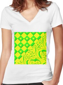 Green and Yellow Butterfly Design Women's Fitted V-Neck T-Shirt