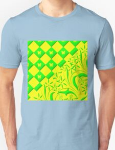 Green and Yellow Butterfly Design T-Shirt