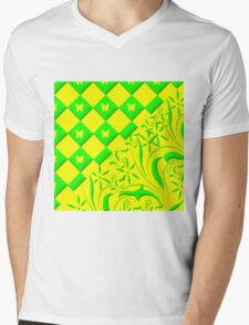 Green and Yellow Butterfly Design Mens V-Neck T-Shirt