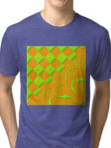 Green and Orange Butterfly Design  Tri-blend T-Shirt