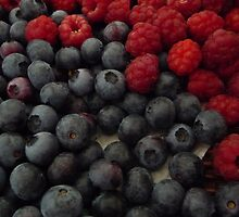 Rasberries and Blueberries by JudyDarcy
