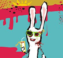 zombie bunny rabbit drinking blood june calendar by BigMRanch