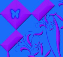 Purple and Blue Butterfly Design Sticker