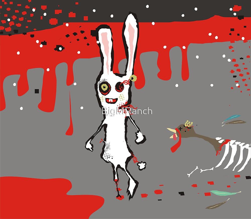 zombie bunny rabbit turkey brains july calendar by BigMRanch