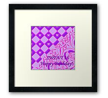 Pink and Purple Butterfly Sweet 16 Framed Print