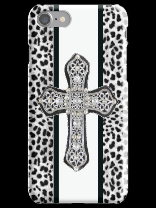 Animal Print Rhinestone Crusted Cross IPhone or I Pod Case by jvinnyg