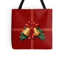 Christmas Holly Bells and Red Ribbon Tote Bag