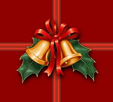 Christmas Holly Bells and Red Ribbon by csforest